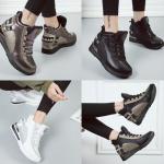 รองเท้าผ้าใบหุ้มข้อเสริมส้นสีดำ/ขาว/เทา/ทอง