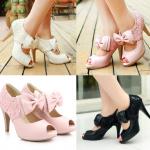 รองเท้าคัดชูเปิดหน้าแต่งผ้าลูกไม้น่ารักๆสีชมพู/ครีม/ดำ ไซต์ 34-43