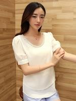 (สีขาว)เสื้อทำงานแฟชั่นเกาหลีออฟฟิศ ผ้าชีฟอง คอประดับคริสตัล แขนสั้น ผ้าชีฟอง (ใหม่ พร้อมส่ง) ร้าน LadyShop4U