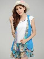 (สีฟ้า)ชุดเดรสสั้น ชุดเดรสน่ารัก แฟชั่นเกาหลี สีฟ้า ชุดเดรส 2 ชิ้น เดรสตัวใน เสื้อยืดสีขาว คอกลม แขนกุด เย็บต่อด้วยกระโปรงแต่งเป็นชั้น ๆ เสื้อตัวนอกจะเป็นผ้าชีฟอง แขนกุด (ใหม่ พร้อมส่ง) ร้าน Ladyshop4u