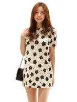 (สีขาวดำ)ชุดเดรสเกาหลีสั้นแฟชั่นเกาหลี ชุดสีขาวลายดอกไม้สีดำ คอกลม แขนสั้น ผ้าชีฟอง เข้ารูป(ใหม่ พร้อมส่ง) ร้าน Ladyshop4u