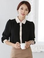 (สีดำ ) เสื้อทำงานแฟชั่นเกาหลีออฟฟิศ เสื้อผ้าชีฟอง คอปกสีเบจ แขนสามส่วน กระดุมผ่าหน้า ปลายเสื้อสีเบจอ่อน เสื้อทำงาน (ใหม่ พร้อมส่ง) ร้าน LadyShop4U