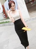 ชุดเดรสยาวเข้ารูป คอกลม แขนกุด ผ้ายืด กระโปรงสีดำ เสื้อสีครีม (ใหม่ พร้อมส่ง) ร้าน Ladyshop4u