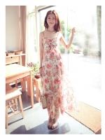 ชุดเดรสเที่ยวทะเล ชุดไปทะเล เดรสยาว แม็กซี่เดรส เดรสยาวลายดอก พื้นขาวลายดอกไม้สีชมพู สายเดี่ยว หน้าอกจะเป็นยางยืด(ใหม่ พร้อมส่ง)ร้าน LadyShop4U