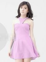 (สีม่วง)ชุดเดรสแซกสั้นแฟชั่นเกาหลี คอวี เปิดไหล่ ซิปหลัง ผ้าโพลีเอสเตอร์ กระโปรงบาน (ใหม่ พร้อมส่ง) ร้าน Ladyshop4u
