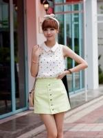 เสื้อแฟชั่นเกาหลีน่ารัก สีขาว ผ้าชีฟองคอปก ไม่มีแขน (ใหม่ พร้อมส่ง) ร้าน Ladyshop4u
