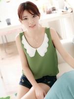 เสื้อแฟชั่นเกาหลี ผ้าชีฟอง สีเขียว คอปกสีขาว แขนกุด(ใหม่ พร้อมส่ง) ร้าน Ladyshop4u