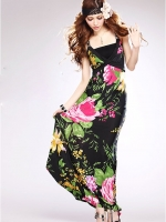 เดรสเที่ยวทะเล ชุดเดรสยาว ชุดเดรสแนวโบฮีเมียน สีดำ เนื่อผ้าสเปนเด็กซ์ สายเดี่ยว (ใหม่ พร้อมส่ง)ร้าน LadyShop4U