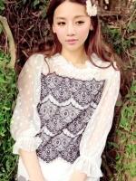เสื้อแฟชั่นเกาหลี เสื้อผ้าชีฟอง คอกลม แขนยาว สีขาว แต่งระบายสีดำด้านหน้า จั้มปลายแขน เสื้อทำงาน เสื้อลำลอง (ใหม่ พร้อมส่ง) ร้าน LadyShop4U