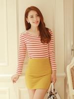 (สีขาวแดง)เสื้อแฟชั่น เสื้อเกาหลี เสื้อแขนยาว ประดับผ้าลูกไม้ที่ไหล่ ผ้ายืดอย่างดี สวมใส่สบาย ลายตามขวางสีขาวสลับสีแดง(ใหม่ พร้อมส่ง) ร้าน LadyShop4U