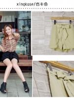 (สีครีม)กางเกงแฟชั่น กางเกงเกาหลี กางเกงขาสั้น เอวสูง สีครีม เอวยางยืด แถมสายผ้า สวย ดูดี น่ารัก (ใหม่ พร้อมส่ง) ladyshop4U