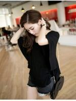 Pre order (สีดำ) เสื้อแฟชั่น เสื้อปีกค้างคาว สีดำ คอกลม (ใหม่ พรีออเดอร์)ร้าน LadyShop4U
