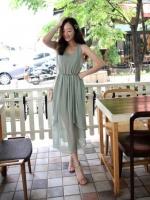 เดรสเที่ยวทะเล เดรสยาว สีเขียวอ่อน ผ้าชีฟองมีซับใน ชุดเดรสยาวเกาหลี ชุดเดรสยาวลำลอง ชุดเดรสยาววินเทจ (ใหม่ พร้อมส่ง)ร้าน LadyShop4U