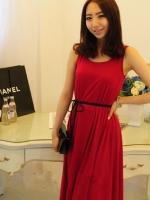 เดรสแฟชั่น เดรสอกงาน เดรสไปงาน เดรสทำงานเดรสยาว ผ้ายืด สีแดงเข้ม คอกลม แขนกุด (ใหม่ พร้อมส่ง) ร้าน Ladyshop4u