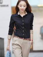 Pre Order (สีดำ ไซส์ XL)เสื้อทำงานแฟชั่น สีดำ คอปกสีครีม แขนยาว กระดุมผ่าหน้า (ใหม่ พรีออเดอร์) ร้าน LadyShop4U ส