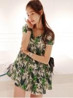 ชุดเดรสสั้นแฟชั่นเกาหลี ผ้าชีฟอง สีเขียวลายดอกไม้(ใหม่ พร้อมส่ง) ร้าน Ladyshop4u