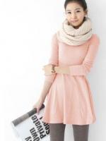 เดรสแฟชั่น เดรสลำลอง เดรสไปเที่ยว เดรสเกาหลี แขนยาว คอกลม ดูดี น่ารัก (ใหม่ พร้อมส่ง) ร้าน LadyShop4u
