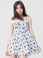 (สีขาวดำ)ชุดเดรสแซกสั้นแฟชั่นเกาหลีน่ารัก สายเดี่ยว สีขาวดำ ลายดอกไม้ ซิปหลัง ผ้าโพลีเอสเตอร์ (ใหม่ พร้อมส่ง) ร้าน Ladyshop4u