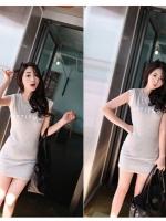 เดรสสั้น สีเทา ผ้ายืด แขนกุด ชุดเดรสเกาหลี ชุดเดรสน่ารัก ชุดเดรสลำลอง ( ใหม่ พร้อมส่ง)ร้าน LadyShop4U