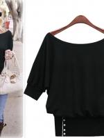 เสื้อแฟชั่น เสื้อยืด เสื้อลำลอง แฟชั่น แขนค้างคาว สามส่วน ผ้ายืด สีดำ (ใหม่ พร้อมส่ง) LadyShop4u