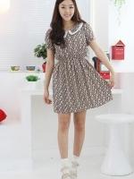 เดรสแฟชั่น เดรสแนววิทเทจ เดรสทำงาน เดรสเกาหลี คอบัว สีดำ ผ้าชีฟองพิมพ์ลายน่ารัก แขนสั้น (ใหม่ พร้อมส่ง) ร้าน Ladyshop4U