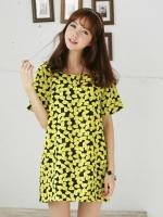 ชุดเดรสสั้น ชุดเดรสแฟชั่นเกาหลี คอกลม แขนสั้น พิมพ์ลายน่ารัก สีเขียวเหลือง (ใหม่ พร้อมส่ง) ร้าน Ladyshop4u