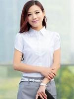 (สีขาว ไซส์ M) เสื้อทำงานแฟชั่นเกาหลีออฟฟิศ เสื้อเชิ้ตทำงาน คอปก แขนสั้น ติดกระดุมหน้า (ซ่อนกระดุม) (ใหม่ พร้อมส่ง) ร้าน LadyShop4U
