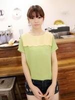 (สีเขียว )เสื้อแฟชั่นเกาหลี สีเขียว ผ้าชีฟอง คอกลม แขนสั้น (ใหม่ พร้อมส่ง) ร้าน Ladyshop4u