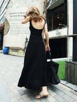 Pre order (สีดำ )ชุดเดรสแซกแฟชั่นราตรียาวเกาหลี แม็กซี่เดรส สีดำ ผ้ายืด คอกลม แขนกุ เว้าหลัง(ใหม่ พรีออเดอร์) ร้าน Ladyshop4u