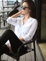 Pre order (สีขาว)เสื้อเชิ้ตทำงานแฟชั่นเกาหลี เสื้อเชิ๊ตทำงาน ผ้าชีฟอง คอปก แขนสามส่วน กระดุมหน้า (ใหม่ พรีออเดอร์) ร้าน LadyShop4U
