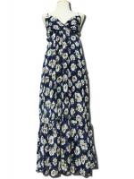 ชุดเดรสยาว เดรสลายดอก สีน้ำเงินพิมพ์ลายดอก ผ้าชีฟองมีซับใน สายปรับได้ แม็กซี่เดรส ชุดเดรสเที่ยวทะเล ชุดเดรสยาวลำลอง ชุดสบายๆ (ใหม่ พร้อมส่ง)ร้าน LadyShop4U