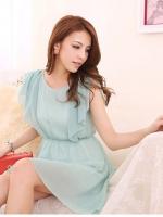 Pre order (สีเขียว) ชุดเดรสแซกสั้นแฟชั่นเกาหลีทำงานออฟฟิศ คอกลม ผ้าชีฟอง มีซับใน ( ใหม่ พรีออเดอร์) ร้าน LadyShop4U