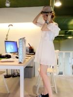 เดรสสั้น เดรสลำลอง เดรสแฟชั่น เดรสสไตส์เกาหลี ผ้าฝ้ายสีขาว (ไม่บาง) โชว์ไหล่ ฉลุลายลูกไม้ที่แขน และชายกระโปรง (ใหม่ พร้อมส่ง) ร้าน LadyShop4u