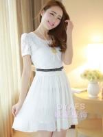 ชุดเดรสสั้นแฟชั่นเกาหลีน่ารัก ชุดออกงาน สีขาว เสื้อผ้าลูกไม้ คอกลม แขนสั้น เอวแต่งโบว์ กระโปรงผ้าชีฟองอัดพลีท ซิปข้าง มีซับใน (ใหม่ พร้อมส่ง) ร้าน Ladyshop4u