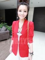 สีแดง เสื้อสูท Blazer เสื้อสูททำงาน แขนยาว ผ้าทูเวย์ มีซัปในอย่างดี (ใหม่ พร้อมส่ง) ร้าน Ladyshop4u