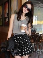 (สีเทา) เดรสแฟชั่น เดรสลำลอง เดรสสั้น มินิเดรส เสื้อผ้ายืดสีเทา ตัดต่อ กระโปรงผ้าชีฟองสีดำพิมพ์ลาย เอวยางยืด คอกลม แขนกุด (ใหม่ พร้อมส่ง)ร้าน LadyShop4U