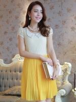 (สีเหลือง) ชุดเดรสออกงาน ชุดเดรสสั้น ชุดเดรสน่ารัก แฟชั่นเกาหลี สีเหลือง เสื้อผ้าลูกไม้อย่างดี คอปกประดับมุก แขนกุด กระโปรงพลีทบาน ซิปข้าง มีซับใน (ใหม่ พร้อมส่ง) ร้าน Ladyshop4u