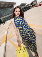 Pre order (สีน้ำเงิน)ชุดเดรสแซกยาวแฟชั่นเกาหลีนำเข้า สีน้ำเงิน ลายม้า ผ้าชีฟอง แขนกุด มีซับใน (ใหม่ พรีออเดอร์) ร้าน Ladyshop4u