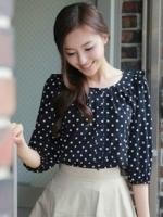 เสื้อทำงานแฟชั่นเกาหลี ผ้าชีฟอง แขนสามส่วน คอกลม แต่งระบาย สีกรมท่า (ใหม่ พร้อมส่ง) ร้าน LadyShop4U