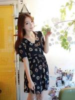 เดรสทำงาน เดรสสั้น ชุดเดรสเกาหลี เดรสแฟชั่น เดรสไปเที่ยว เดรสลายดอกไม้ แขนสั้น (ใหม่ พร้อมส่ง)ร้าน LadyShop4U