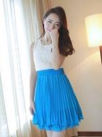 (สีฟ้า)ชุดเดรสสั้นแฟชั่นเกาหลีหวาน ชุดออกงาน สีฟ้า เสื้อผ้าชีฟองแต่งดอกกุหลาบ กระโปรงอัดพลีท ซิปข้าง มาพร้อมเข็มขัด (ใหม่ พร้อมส่ง) ร้าน Ladyshop4u