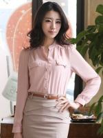 (สีชมพู ) เสื้อทำงานแฟชั่นเกาหลีออฟฟิศ เสื้อทำงาน คอจีน แขนยาว กระดุมผ่าหน้า ผ้าชีฟอง เสื้อเชิ้ตทำงานออฟฟิศ (ใหม่ พร้อมส่ง) ร้าน LadyShop4U