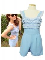 เสื้อผ้าแบบดารา จั๊มสูทกางเกง สีฟ้าคราม หน้าอกแต่งด้วยผ้าแก้วเป็นชั้น ๆ น่ารักมาก ๆ ชุดเดรสออกงาน ชุดเดรสน่ารัก ชุดเดรสปาร์ตี้ ชุดเดรสไปงานแต่ง (ใหม่ พร้อมส่ง)ร้าน LadyShop4U