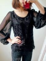 (สีดำ)เสื้อผ้าแฟชั่นเกาหลีทำงานออฟฟิศ สีดำ คอกลม แขนยาวผ้าชีฟอง ตัวเสื้อเป็นผ้าลูกไม้ ( ใหม่ พร้อมส่ง) ร้าน LadyShop4U