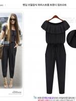 จั๊มสูทกางเกง ชุดหมี คอเสื้อแบบจั๊มสามารถยืดได้ จั๊มเอว กางเกงขายาว (ใหม่ พร้อมส่ง)ร้าน LadyShop4U
