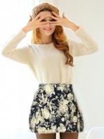 (สีดำ)กระโปรงสั้นแฟชั่นเกาหลี ทรงสุ่ม ลายดอกไม้สีขาว ผ้าฝ้ายผสม ผ้าหนา(ใหม่ พร้อมส่ง) ladyshop4U