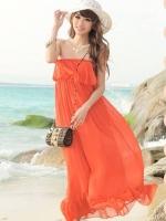 Pre order (สีส้ม)ชุดเดรสแซกเที่ยวทะเล ชุดไปทะเล ชุดเดรสยาว แม็กซี่เดรส สีส้ม เกาะอกแต่งระบาย จั๊มเอว ยางยืด (ใหม่ พรีออเดอร์) ร้าน LadyShop4u