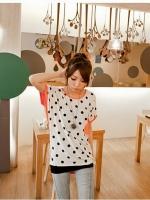 เสื้อแฟชั่น เสื้อลำลอง สีส้ม จุดดำ คอกลม (ใหม่ พร้อมส่ง) ร้าน LadyShop4U