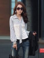 (สีขาว)เสื้อผ้าแฟชั่นเกาหลีทำงานออฟฟิศ สีขาวคอปก แขนยาว ช่วงบนเป็นลายขวางลงสีขาวสลับดำ ช่วงล่างเป็นผ้ายืดเข้ารูป( ใหม่ พร้อมส่ง) ร้าน LadyShop4U
