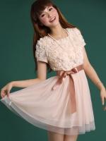 (สีชมพู)ชุดเดรสออกงาน ชุดเดรสสั้น สีชมพู เสื้อประดับดอกไม้ คอกลม แขนสั้น กระโปรงผ้าตาข่าย พร้อมผ้าผูกเอว(ใหม่ พร้อมส่ง) ร้าน Ladyshop4u